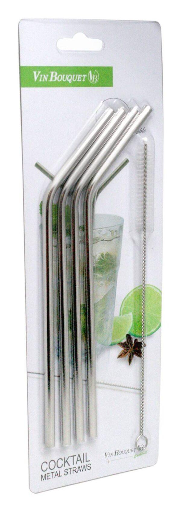 Комплект сламки от стомана 4 бр.+ четка за почистване - Vin Bouquet