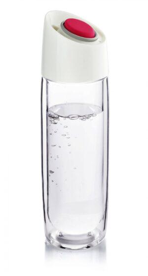 Стъклена термо бутилка Simply Clear 400 мл червена - Asobu