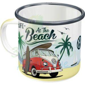 """Емайлирано канче """"VW Живот на плажа"""" - Nostalgic Art"""