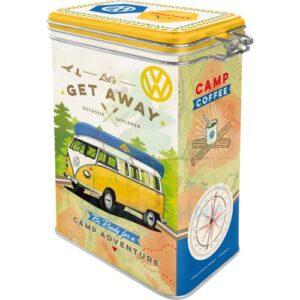 """Метална кутия с клипс за съхранение """"VW BULLI - Хайде да се махнем"""" - Nostalgic Art"""