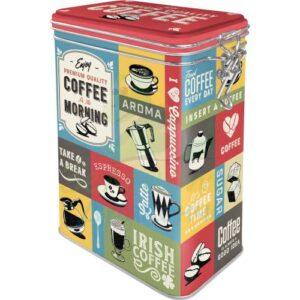 """Метална кутия с клипс за съхранение """"КАФЕ КОЛАЖ"""" - Nostalgic Art"""