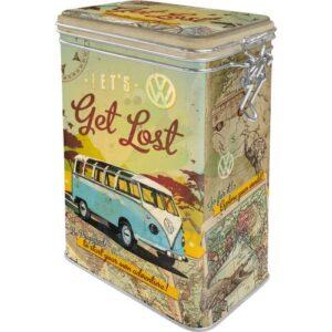 """Метална кутия с клипс за съхранение """"VW BULLI ХАЙДЕ ДА СЕ ИЗГУБИМ"""" - Nostalgic Art"""