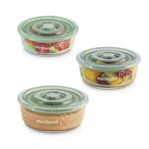 """Комплект 3 контейнера от стъкло 300 мл Natur """"Катеричка"""" - Miniland"""