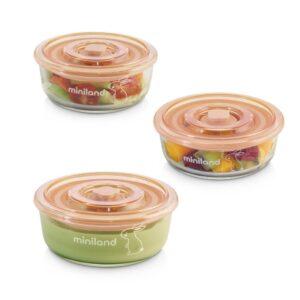 "Комплект 3 контейнера от стъкло 300 мл Natur ""Зайче"" - Miniland"