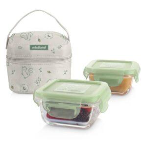 "Комплект 2 контейнера стъкло 160 мл + термо чанта Natur ""Катеричка"" - Miniland"