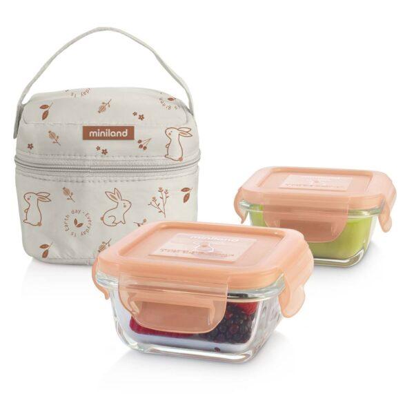 "Комплект 2 контейнера от стъкло 160 мл + термо чанта Natur ""Зайче"" - Miniland"