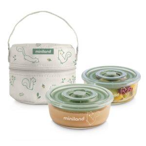 """Комплект 2 контейнера от стъкло 300 мл + термо чанта Pack3Go Natur """"Катеричка"""" - Miniland"""
