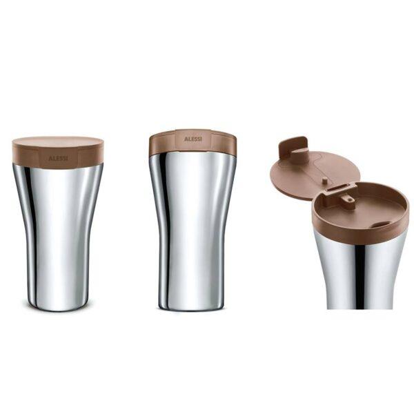Термо чаша за път Caffa 400 мл, кафява - Alessi