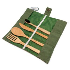 Бамбуков комплект прибори за храна + четка за зъби - Nerthus/Vin Bouquet