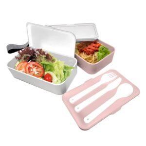 Двойна херметическа кутия за храна с прибори 2х500 мл. цвят розов/бял - Nerthus