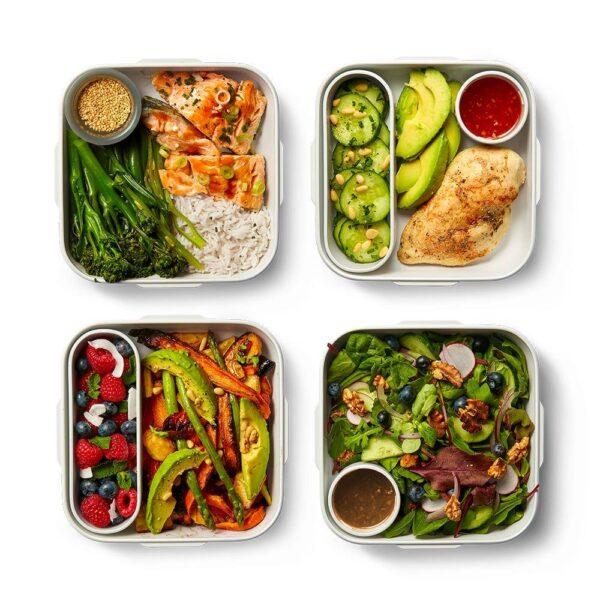 Кутия за храна - бяло и синьо - Black+Blum