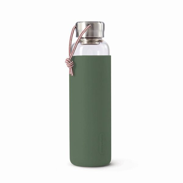 Стъклена бутилка 600 мл със силиконов калъф, маслина - Black+Blum