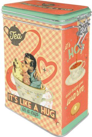 """Метална кутия с клипс за съхранение """"ЧАЯТ Е КАТО ПРЕГРЪДКА В ЧАША"""" - Nostalgic Art"""